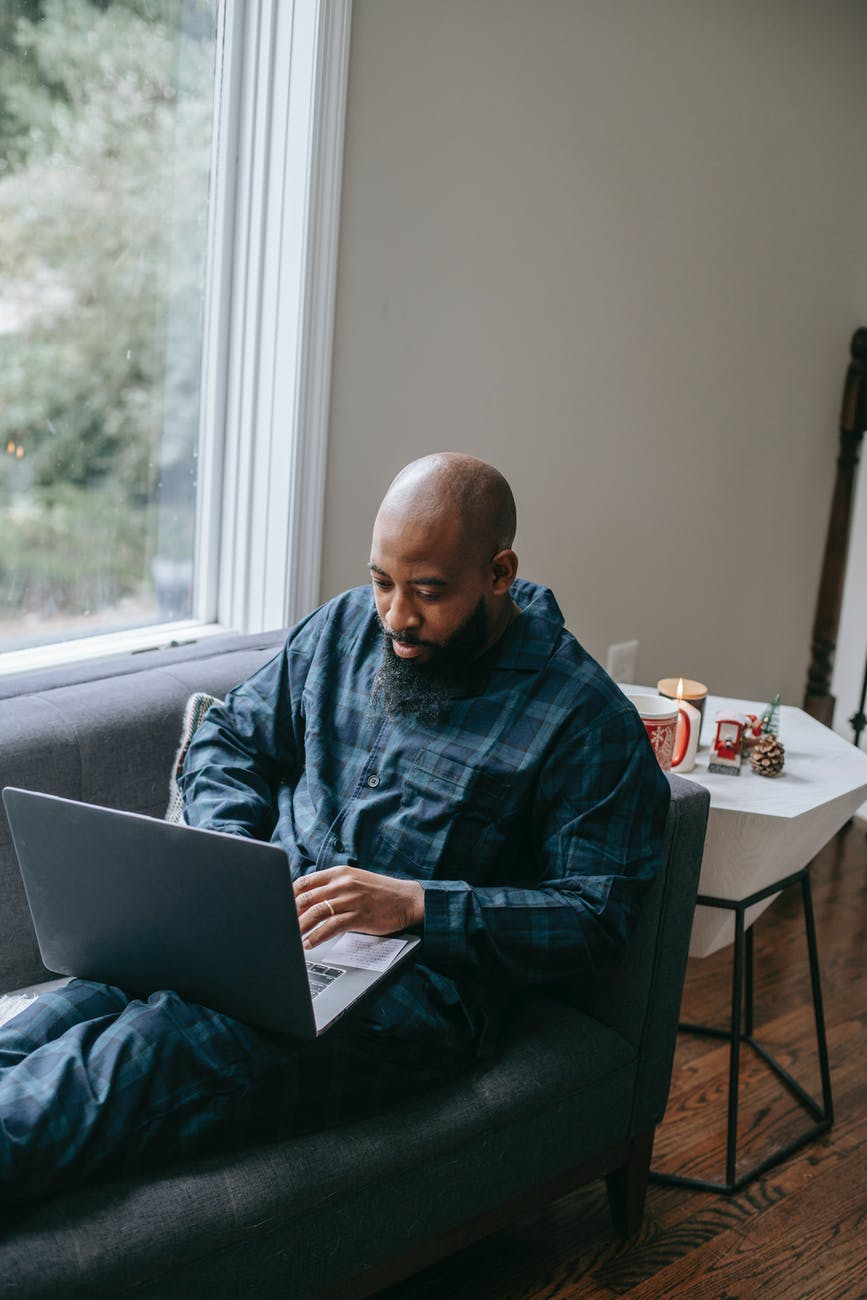 man working on a laptop